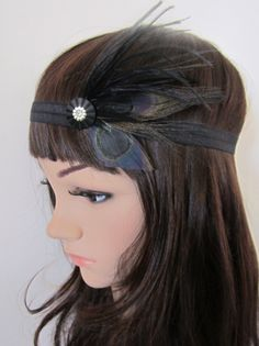 feather headbands | ... Style Black Peacock Feather 1920s Flapper Style Headband | eBay