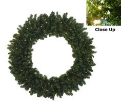 """36"""""""" Pre-Lit Battery Operated Canadian Pine Christmas Wreath - Clear LED Lights"""