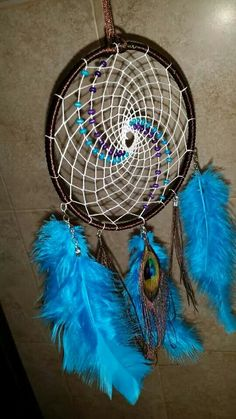 Peacock feather Purple, Blue & Brown dreamcatcher