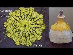 Vestido con vuelo  a crochet de piñas (falda)