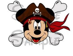 Pirate Mickey Head with Crossbones, Print your own stickers, Inspiration for Mobella Events, Event planner Orlando, www.mobellaevents.com