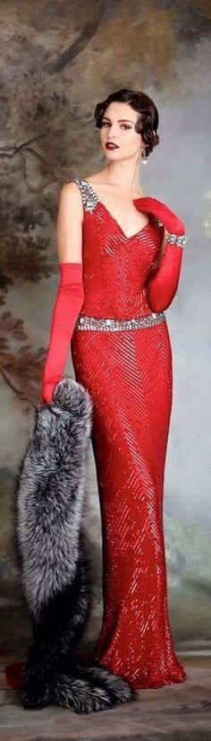 1920s Hollywood glam red gown + fur
