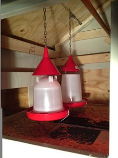 great idea! .....put plastic funnels over food & water to prevent chickens from perching on top