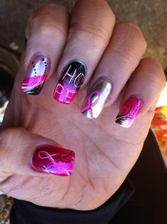 cancer nails | Bet we could do these in Black and Green for Bob!