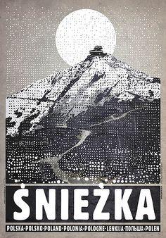 Śnieżka, plakat z serii Polska, Ryszard Kaja Typography Prints, Typography Poster, Gig Poster, Polish Posters, 5 W, Vintage Travel Posters, Retro Posters, Illustrations And Posters, Illustration Art
