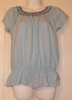 Izod Baby Blue Smocked Top Blouse X Stitching Medium Free Shipping