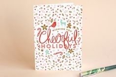 Cheerful Pretty Holiday Cards by Phrosne Ras Holiday Cards, Christmas Cards, Holidays And Events, Independence Day, Christmas Holidays, Valentines Day, Cheer, Product Launch, Easter