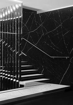 Saint Laurent Paris store design by Hedi Slimane _ Saint Laurent Paris, Saint Laurent Store, Interior Stairs, Retail Interior, Interior Architecture, Interior Design, Paris Store, Ysl Store, Staircase Handrail