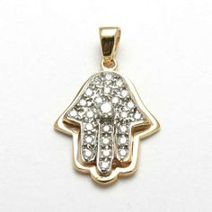 14k yellow & white gold Hamsa, hand of G-d, 2 dimensional yellow gold in the back, white gold in the front 24 fully cut and polished natural white diamonds, pave set 1 natural diamond, prong set in th