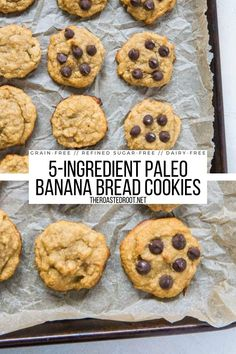 5-Ingredient Paleo Banana Bread Cookies - easy, healthy dessert recipe that is grain-free, refined sugar-free, dairy-free and delicious! #grainfree #glutenfree #paleo #banana #cookies #healthy Banana Bread Cookies, Paleo Banana Bread, Soft Cookie Recipe, Cookie Recipes, Cheese Appetizers, Appetizer Recipes, Recipe Maker, Vegan Sugar, Grain Free