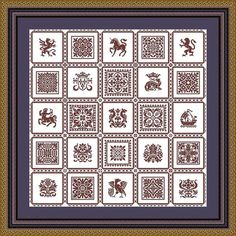 25 squares heraldic figures ornament scross от LenaCrossStich