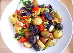 Tri color potato salad - red, white and blue!