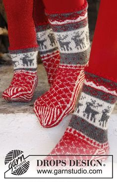 "DROPS Christmas: Knitted DROPS socks with Norwegian pattern in ""Fabel"". ~ DROPS…"