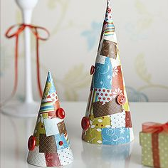 Christmas patchwork tree cones tutorial with buttons!