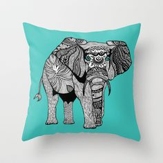 Tribal Elephant Black and White Version Throw Pillow by Pom Graphic Design  - $20.00