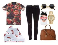 """""""."""" by nailahmyers ❤ liked on Polyvore featuring NIKE, River Island, MICHAEL Michael Kors, Forever New and OBEY Clothing"""