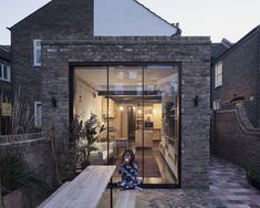 Rise Design Studio remodels London garden flat to maximise storage and light British Architecture, London Architecture, Architecture Design, Design Studio, House Design, Brick Studio, London Garden, Sliding Patio Doors, London House