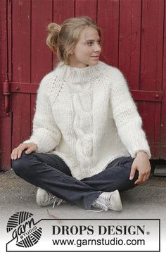 Mont Blanc  - Knitted jumper with raglan, cables, high collar and split in sides, worked top down. Sizes S - XXXL. The piece is worked in 1 strand DROPS Polaris or 4 strands Air. Free knitted pattern DROPS 183-18