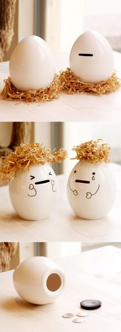 Replace your old piggy bank with this uniquely designed egg bank! This ceramic coin bank is reusable as many times as you want.