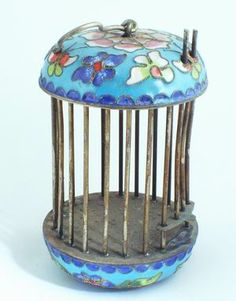 cricket cages | Oriental Products: Little Cloisonne Chinese Flower Cricket Cage