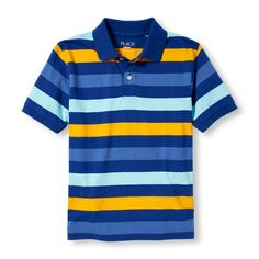 s Boys Short Sleeve Striped Polo - Blue - The Children s Place Polo Blue 75eede264b572