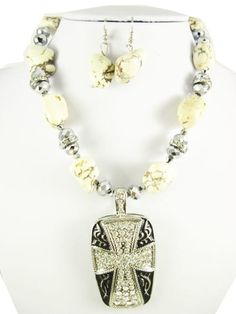Ivory Stone necklace with silver cross pendant by RainingRustic, $20.00
