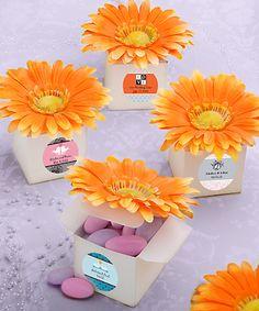 Personalized Orange Gerbera Daisy Favor Boxes - DIY Favors