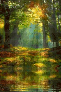 Forest Filtered Sunlight Cross Stitch pattern PDF - Instant Download! by PenumbraCharts on Etsy