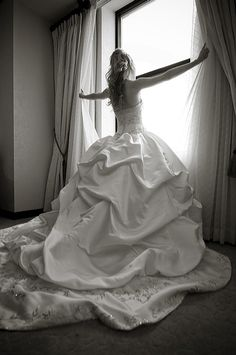 My Cinderella-style wedding dress, by Eve of Milady. Photo by Heather Fowler Photography.