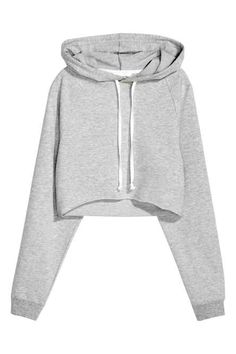 Cropped top in marled sweatshirt fabric with a drawstring hood, long raglan sleeves, ribbed cuffs and a raw roll-edge hem. Teen Fashion Outfits, Outfits For Teens, Girl Outfits, Trendy Hoodies, Jugend Mode Outfits, Short Tops, Long Tops, Mode Hijab, Cute Comfy Outfits