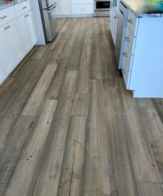 "Love this picture sent in from a customer. Shown here is our 7"" width Mountain Collection Doug Fir flooring in our Barnwood Color."