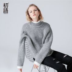 Toyouth 2017 Autumn New Women Sweater Loose   High Neck Khitted Long Sleeves Casual Sweater #Toyouth #sweaters #women_clothing #stylish_sweater #style #fashion