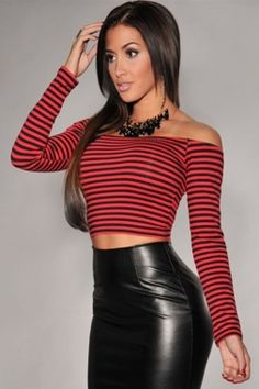 Cheap Red Black Stripes Off-the-shoulder Cropped Top online - All Products,Sexy Clubwear,Clubwear Tops Cropped Tops, Miami Mode, Clubwear Tops, Faux Leather Pencil Skirt, Crop Tops Online, Strapless Tops, Miami Fashion, Trendy Clothes For Women, Moda Femenina