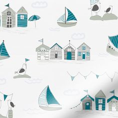 Drift away on the tide with the lovely little boats on this 100% waterproof Splash Beach Hut Teal roller blind.br br This blind would be the perfect addition to your bathroom, its teal shades bring...