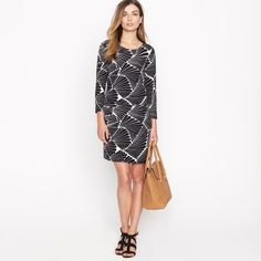 J. Crew Jules Dress in Fanfare novelty beach $188  I love the fan / sea shell / fern novelty print of this gorgeous dress. I think the colors are navy & beige, but please use your own discretion for deciding the color. Can be work in so many different ways - to work, parties, date nights, and even the beach. Size 2 (aka a small). Originally $188 on the official J. Crew website. One of a kind & a total must have!  J. Crew Dresses