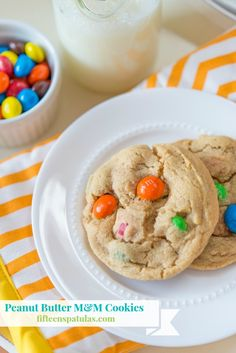 Peanut Butter M&M Cookies. Two of my fav ingredients come together for an all-out bombshell of a cookie:)