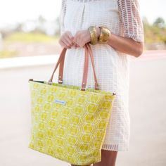 The chartreuse color of this bag makes me so ready for spring! Such a cute tote. (Don't tell, but it's really a diaper bag!)