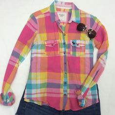 ABERCROMBIE top Pink, orange, and yellow plad button down top. Nice springy colors! Abercrombie & Fitch Tops Button Down Shirts