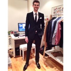 Jim Chapman | Tonight's outfit consists of a black @Burberry suit, RandBPRGirl shoes, raybanofficiaI specs and TMLewin shirt | feat. T.M.Lewin white shirt