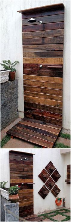 This wood pallets shower plan is designed to give you the best decorating item for your bathing area. Use your creative ideas to transform the simple look of your bathing area into royal one with this pallets wood shower plan. This plan is beautiful the in display as well as cheap in cost.