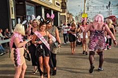 Blackpool 2012. Large vehicles turning. Bunny-eared hens and a stag in drag in Blackpool. Photograph: Dougie Wallace