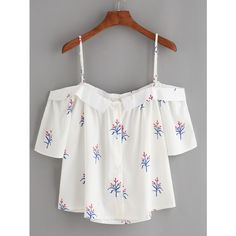 White Fold Over Cold Shoulder Flower Print Top (£11) ❤ liked on Polyvore featuring tops, blouses, white, white cold shoulder top, cold shoulder blouse, embellished blouse, button blouse and short sleeve blouse