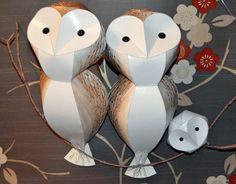 Bird mobile, owl mobile, Barn Owl Parliament, handmade paper sculpture, owl family, family portrait, handprinted mobile sculpture by Kaper