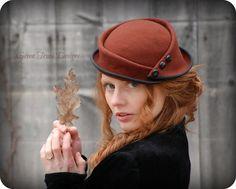 Rustic Victorian Steampunk hat Hand Blocked Felt