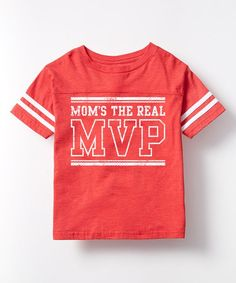Red 'Mom's the Real MVP' Football Tee - Kids