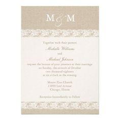 Burlap and Lace | Wedding Custom Invites