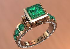 14K Rose Gold Vintage Emerald Ring with Diamonds Item  by VOLISA, $2799.00