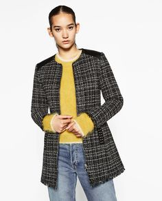 Image 2 of CONTRAST FAUX LEATHER FROCK COAT from Zara