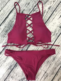 $14.49  Lace-Up High Neck Bikini - WINE RED M