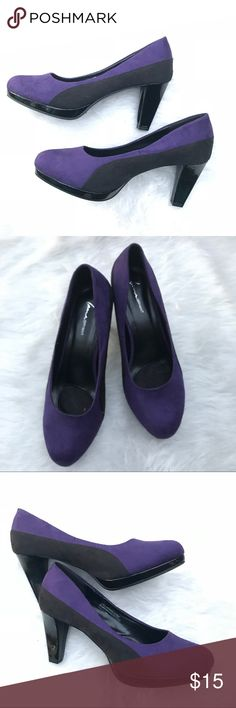 "Lane Bryant suede-like purple and black heels Sz11 Lane Bryant adorable purple and black suede like fabric heels. Barely worn and in EUC. Perfect for career or play. 3"" heel. Pet and smoke free home. Sorry no trades , modeling or pay pal. Lane Bryant Shoes Heels"